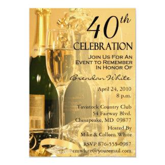 40.o Invitaciones de la fiesta de cumpleaños Invitación 12,7 X 17,8 Cm