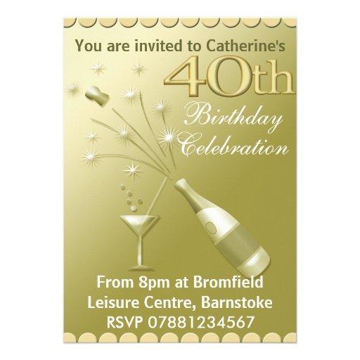 40.o Invitaciones de la fiesta de cumpleaños - oro Invitaciones Personales
