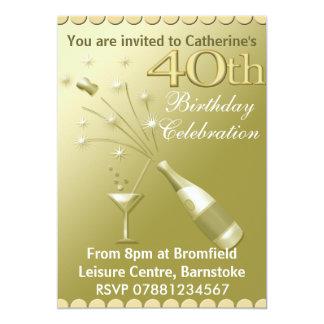 40.o Invitaciones de la fiesta de cumpleaños - oro Invitación 12,7 X 17,8 Cm