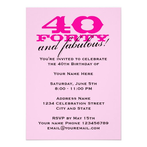 40.o Invitaciones de la fiesta de cumpleaños para  Invitaciones Personales