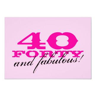 40.o Invitaciones de la fiesta de cumpleaños para Invitación 12,7 X 17,8 Cm