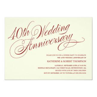 40.o Invitaciones del aniversario de boda Invitación 12,7 X 17,8 Cm