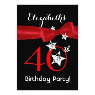 40.o La fiesta de cumpleaños negra y el rojo Invitación 12,7 X 17,8 Cm