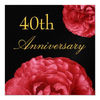 40.o Letras del oro de los rosas rojos del Invitación 13,3 Cm X 13,3cm