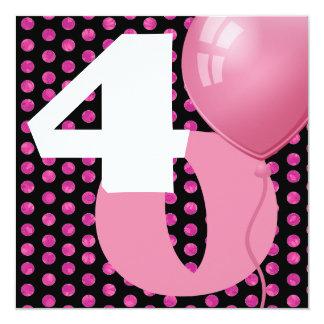 40.o Lunares y globos A02 del cumpleaños Invitación 13,3 Cm X 13,3cm