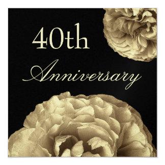 40.o ` Metálico de los rosas del oro del Invitación 13,3 Cm X 13,3cm