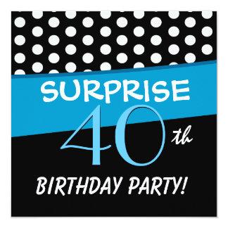 40.o Modelo de lunar de la fiesta de cumpleaños de Invitación 13,3 Cm X 13,3cm