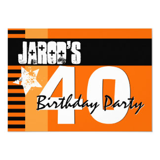 40.o Naranja y rayas negras A2 de la fiesta de Invitación 12,7 X 17,8 Cm