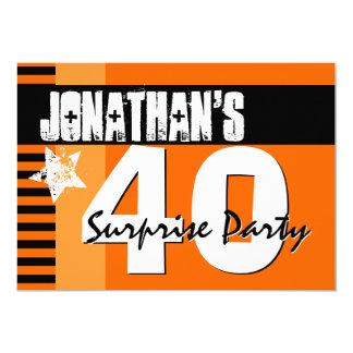 40.o Naranja y rayas negras A2 del fiesta de Invitación 12,7 X 17,8 Cm