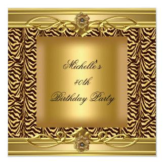 40.o Negro de la cebra del oro de la fiesta de Invitación 13,3 Cm X 13,3cm
