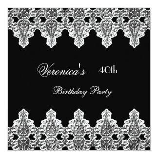 40.o Negro de la plata de la fiesta de cumpleaños Invitación 13,3 Cm X 13,3cm