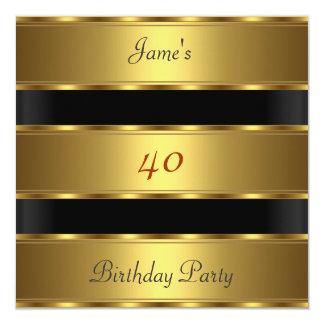40.o negro del oro de la fiesta de cumpleaños de invitación 13,3 cm x 13,3cm