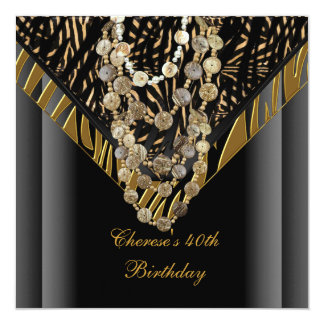 40.o Negro salvaje del bronce del oro de la cebra Invitación 13,3 Cm X 13,3cm