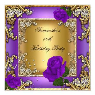 40.o oro color de rosa púrpura elegante de la invitación 13,3 cm x 13,3cm