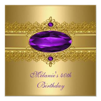 40.o Oro elegante de la púrpura del cordón del Invitación 13,3 Cm X 13,3cm