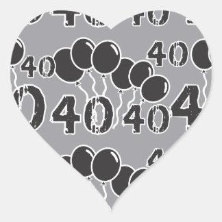 40.o Pegatinas NEGROS grises del cumpleaños Pegatina En Forma De Corazón