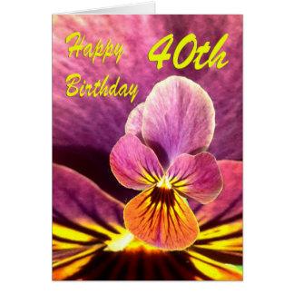40.o pensamiento feliz de la flor del cumpleaños tarjeta de felicitación