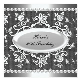 40.o Perla blanca del damasco del negro de la Invitación 13,3 Cm X 13,3cm
