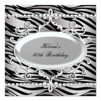 40.o Perla negra y de plata de la cebra de la Invitación 13,3 Cm X 13,3cm