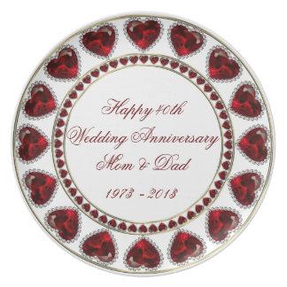 40.o Placa de la melamina del aniversario de boda Plato