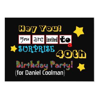 40.o Plantilla V02 de la fiesta de cumpleaños de Invitación 12,7 X 17,8 Cm