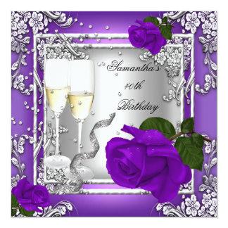 40.o Plata color de rosa púrpura de la fiesta de Invitación 13,3 Cm X 13,3cm