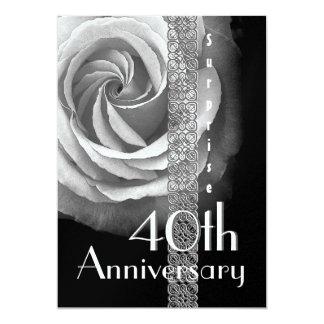 40.o PLATA del aniversario de boda de la SORPRESA Invitación 12,7 X 17,8 Cm