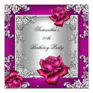 40.o plata subió rosa elegante de la fiesta de invitación 13,3 cm x 13,3cm