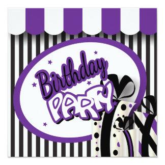 40.o Púrpura, blanco y rayas negras del cumpleaños Invitación 13,3 Cm X 13,3cm