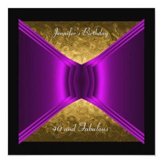 40.o Púrpura del oro de la fiesta de cumpleaños Invitación 13,3 Cm X 13,3cm
