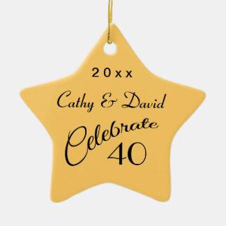 40.o Regalo de la estrella del aniversario Ornamento Para Arbol De Navidad