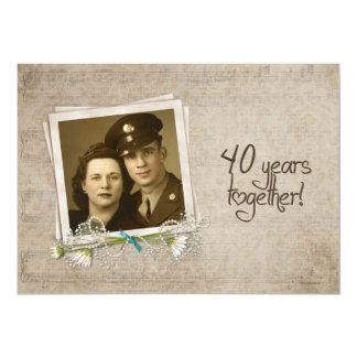 40.o Renovación del voto del aniversario de boda Invitación 12,7 X 17,8 Cm