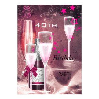 40 o Rosa Champán 40 de la fiesta de cumpleaños Comunicado