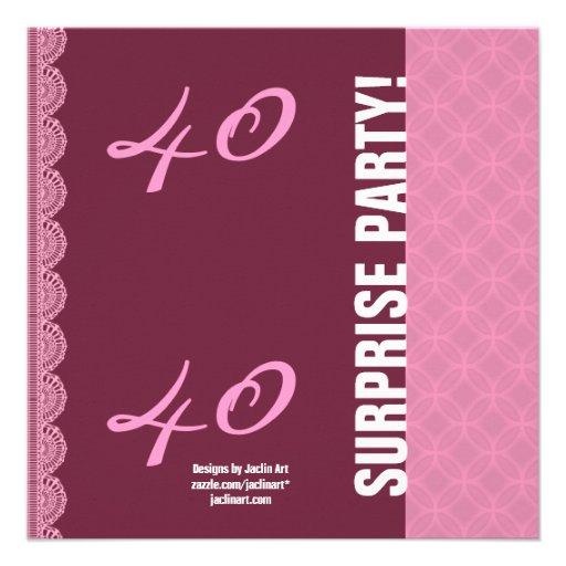 40.o Rosa de Borgoña del cumpleaños de la SORPRESA Invitaciones Personales