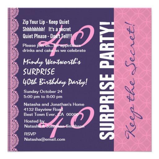 40.o Rosa púrpura del cumpleaños de la SORPRESA Invitación