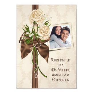 40.o Rosas del aniversario de boda Invitación 12,7 X 17,8 Cm