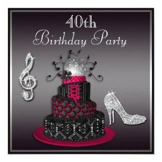 40.o Rosas fuertes de la torta y de los talones de Invitación 13,3 Cm X 13,3cm