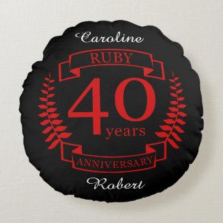 40.o RUBÍ del ANIVERSARIO de boda Cojín Redondo