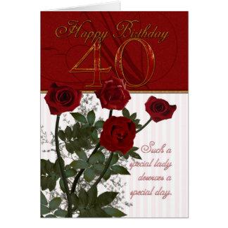 40 o Tarjeta de cumpleaños con los rosas