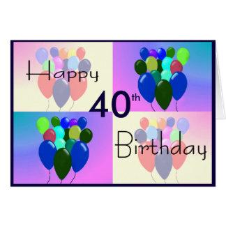 40.o Tarjeta de cumpleaños - globos y