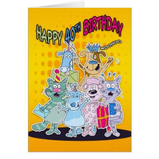 40.o Tarjeta de cumpleaños - Moonies Doodlematoons