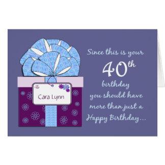 40.o Tarjeta del personalizable del cumpleaños