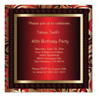 40.o Texto de la fiesta de cumpleaños el | DIY Invitación 13,3 Cm X 13,3cm