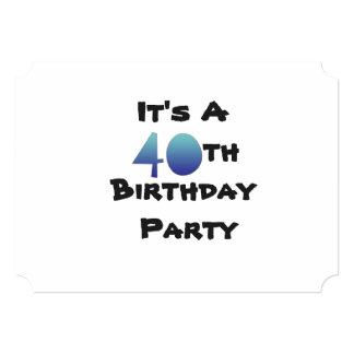 40.o Texto de la invitación del cumpleaños, negro Invitación 12,7 X 17,8 Cm