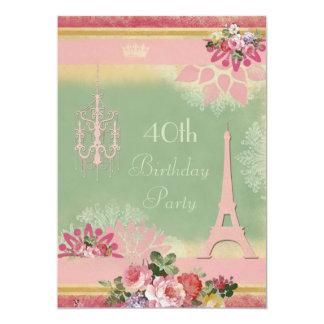 40.o Torre Eiffel y lámpara rosadas del cumpleaños Invitación 12,7 X 17,8 Cm