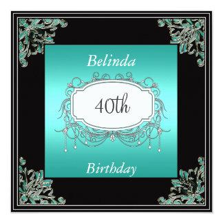 40.o Trullo de la fiesta de cumpleaños e Invitación 13,3 Cm X 13,3cm