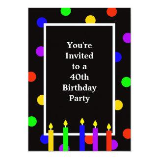 40.o Velas coloridas de la invitación de la fiesta