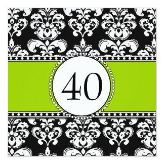 40.o verde de las invitaciones del cumpleaños del invitación 13,3 cm x 13,3cm