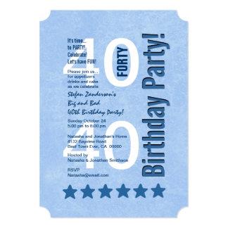 40.o Vertical moderna de la fiesta de cumpleaños Invitación 12,7 X 17,8 Cm
