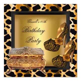 40.o Zapatos del oro del negro del leopardo de la Invitación 13,3 Cm X 13,3cm
